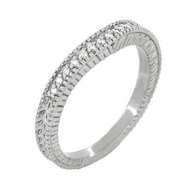 Art Deco Carved Wheat and Diamonds Curved Wedding Band in 18K White Gold - Item: WR1153W - Image: 1