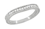 Art Deco Carved Wheat & Diamonds Curved Wedding Band in 14K or 18K White Gold