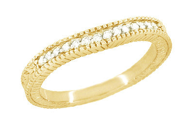 Art Deco Yellow Gold Curved Wheat Diamond Wedding Band - 18K or 14K