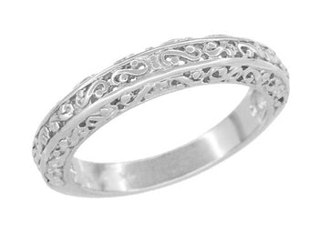 Filigree Flowing Scrolls Wedding Ring in 14 Karat White Gold