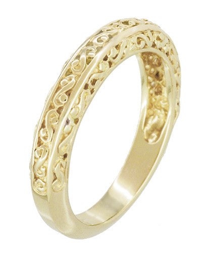 Filigree Flowing Scrolls Wedding Ring in 14 Karat Yellow Gold - Item: WR1196Y - Image: 2