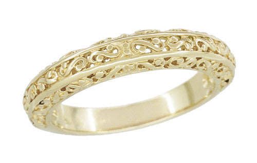 Filigree Flowing Scrolls Wedding Ring in 14 Karat Yellow Gold - Item: WR1196Y - Image: 4