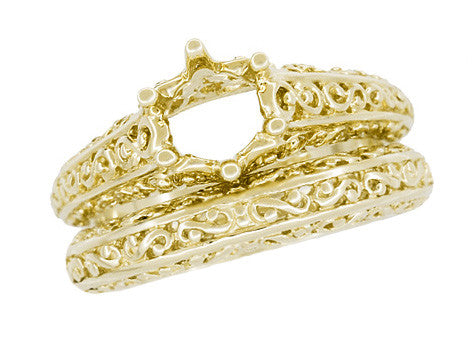 Filigree Flowing Scrolls Wedding Ring in 14 Karat Yellow Gold - Item: WR1196Y - Image: 7