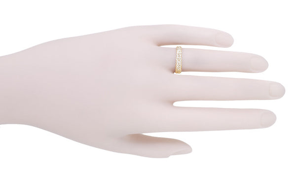 Filigree Flowing Scrolls Wedding Ring in 14 Karat Yellow Gold - Item: WR1196Y - Image: 8