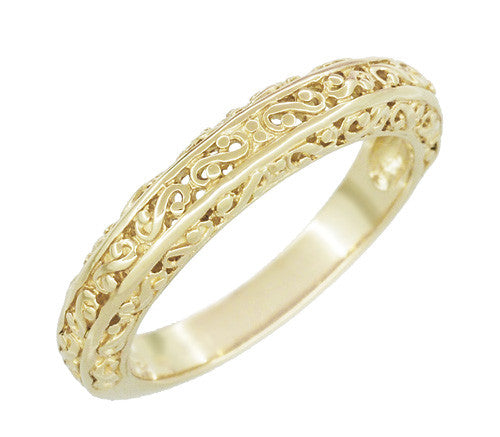 Filigree Flowing Scrolls Wedding Ring in 14 Karat Yellow Gold - Item: WR1196Y - Image: 1