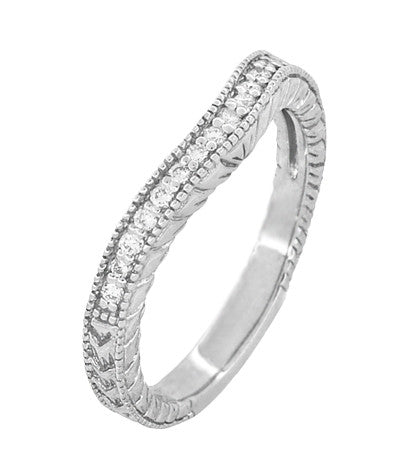 Art Deco 14 Karat White Gold Wheat Engraved Curved Diamond Wedding Band - Item: WR1205W14 - Image: 2