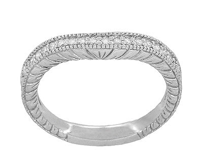 Art Deco 14 Karat White Gold Wheat Engraved Curved Diamond Wedding Band - Item: WR1205W14 - Image: 1