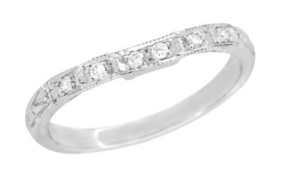 Art Deco Carved Contoured Diamond Wedding Ring in Platinum