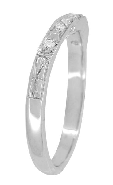 Art Deco Engraved Diamond Wedding Ring in 14 Karat White Gold - Companion Band - Item: WR155W14 - Image: 2