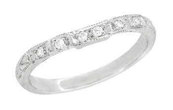 Art Deco Carved Contoured Diamond Wedding Ring in 18 Karat White Gold