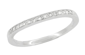 Classic Milgrain Edge Diamond Curved Wedding Band in 14 Karat White Gold