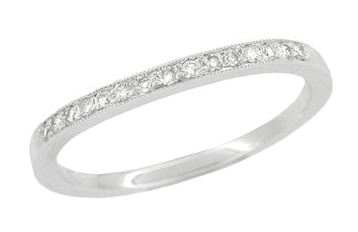 Classic Milgrain Edge Diamond Curved Wedding Band in White Gold
