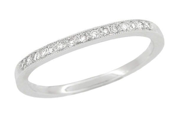 Simple Vintage Curved Diamond Wedding Band with Milgrain Beaded Edge - WR158