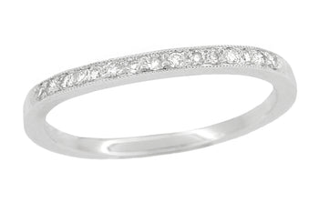 Milgrain Edge Curved Diamond Wedding Band in Platinum