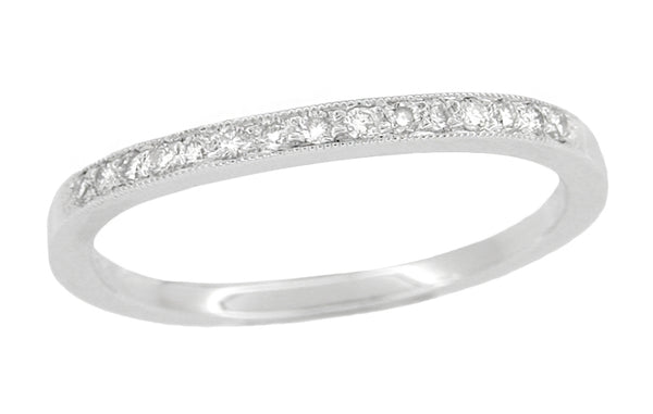 Simple Platinum Curved Diamond Wedding Band with Milgrain Edges - WR158P