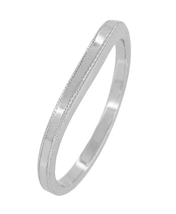 Millgrain Edge Curved Wedding Band in Platinum - Item: WR158PND - Image: 1