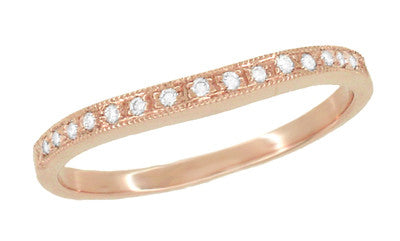 Diamond Set Curved Wedding Band in 14 Karat Rose ( Pink ) Gold