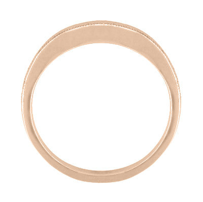 Millgrain Edge Curved Wedding Band in 14 Karat Rose ( Pink ) Gold - Item: WR158RND - Image: 2