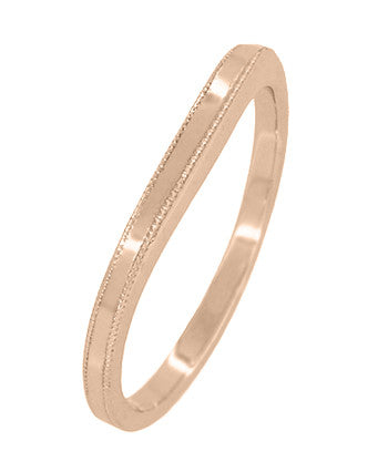 Millgrain Edge Curved Wedding Band in 14 Karat Rose ( Pink ) Gold - Item: WR158RND - Image: 1