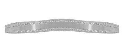 Millgrain Edge Curved Wedding Band in 18 Karat White Gold - Item: WR158W18ND - Image: 3