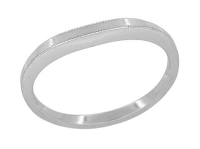 Deco Millgrain Edge Curved Wedding Band in White Gold