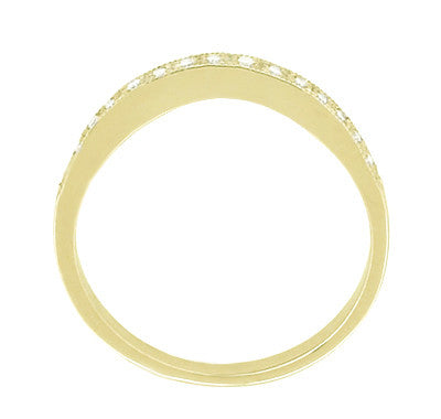 Curved Milgrain Diamond Wedding Band in 14 Karat Yellow Gold - Item: WR158Y - Image: 1