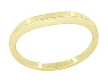 High Polish Millgrain Edged Contoured Wedding Band in 14 Karat Yellow Gold