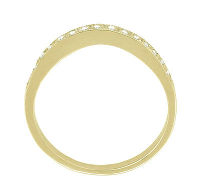 White Sapphire Curved Wedding Band in 14 Karat Yellow Gold - Item: WR158YWS - Image: 1