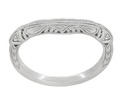 Art Deco Filigree and Wheat Engraved Curved Wedding Ring in Platinum - Item: WR161P - Image: 2