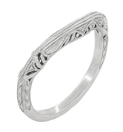 Art Deco Filigree and Wheat Engraved Curved Wedding Ring in Platinum - Item: WR161P - Image: 1