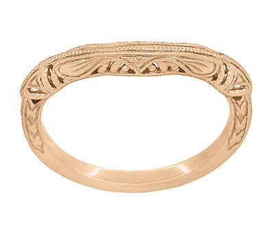 Art Deco Filigree and Wheat Engraved Curved Wedding Ring in 14 Karat Rose Gold - Item: WR161R - Image: 2