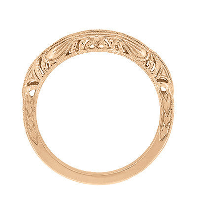 Art Deco Filigree and Wheat Engraved Curved Wedding Ring in 14 Karat Rose Gold - Item: WR161R - Image: 3