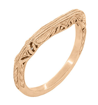 Art Deco Filigree and Wheat Engraved Curved Wedding Ring in 14 Karat Rose Gold - Item: WR161R - Image: 1