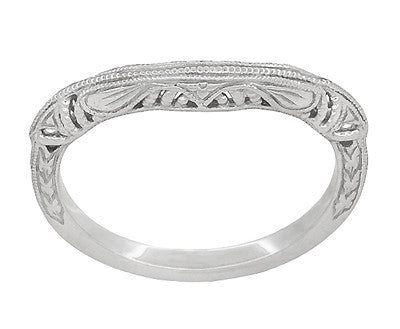 Art Deco Filigree and Wheat Engraved Curved Wedding Ring in 14 Karat White Gold - Item: WR161W - Image: 2