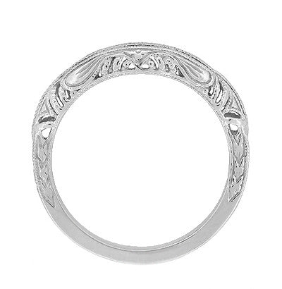 Art Deco Filigree and Wheat Engraved Curved Wedding Ring in 14 Karat White Gold - Item: WR161W - Image: 3
