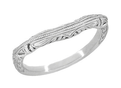Art Deco Filigree and Wheat Engraved Curved Wedding Ring in 14 Karat White Gold