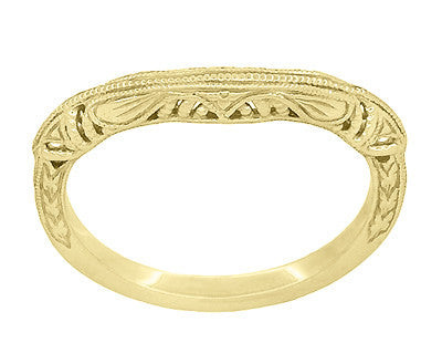 Art Deco Filigree and Wheat Engraved Curved Wedding Ring in 14 Karat Yellow Gold - Item: WR161Y - Image: 2