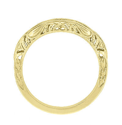 Art Deco Filigree and Wheat Engraved Curved Wedding Ring in 14 Karat Yellow Gold - Item: WR161Y - Image: 3