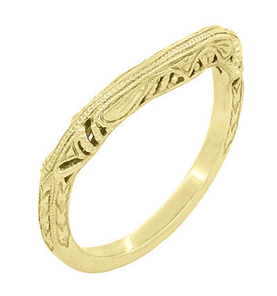 Art Deco Filigree and Wheat Engraved Curved Wedding Ring in 14 Karat Yellow Gold - Item: WR161Y - Image: 1