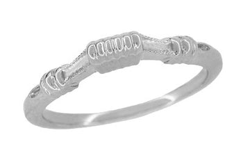 Art Deco Platinum Harvest Bands Contoured Wedding Ring