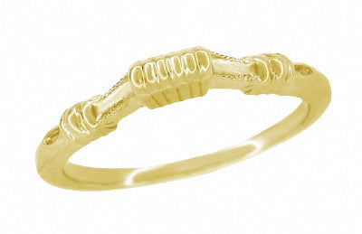 Art Deco Harvest Bands Curved Wedding Ring in 14 Karat Yellow Gold