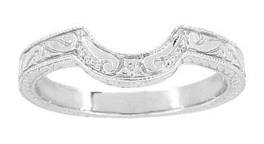 Art Deco Engraved Scrolls and Wheat Curved Wedding Band in 18 Karat White Gold - Item: WR178 - Image: 1