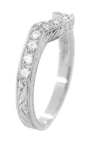 Art Deco Heirloom Carved Scrolls and Wheat Curved Diamond Wedding Band in 18 Karat White Gold - Item: WR178D - Image: 2