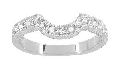 Art Deco Heirloom Carved Scrolls and Wheat Curved Diamond Wedding Band in 18 Karat White Gold - Item: WR178D - Image: 1