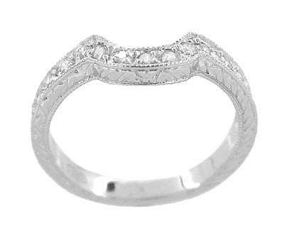 Art Deco Heirloom Carved Scrolls and Wheat Curved Diamond Wedding Band in 18 Karat White Gold