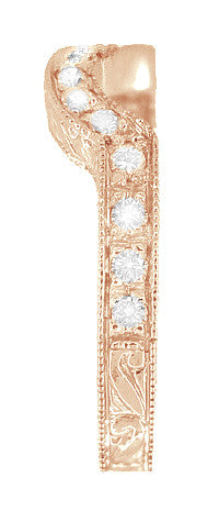 Art Deco Rose Gold Carved Wheat and Scrolls Hugger Diamond Wedding Band - Item: WR178DR - Image: 2