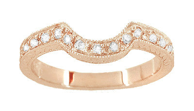Art Deco Rose Gold Carved Wheat and Scrolls Hugger Diamond Wedding Band - Item: WR178DR - Image: 1