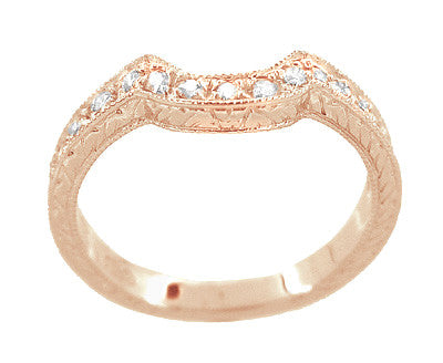 Art Deco Rose Gold Carved Wheat and Scrolls Hugger Diamond Wedding Band