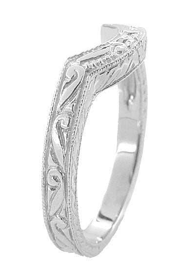 Art Deco Scrolls and Wheat Engraved Platinum Rounded Curved Wedding Band - Item: WR178P - Image: 2