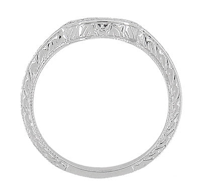 Art Deco Scrolls and Wheat Engraved Platinum Rounded Curved Wedding Band - Item: WR178P - Image: 4